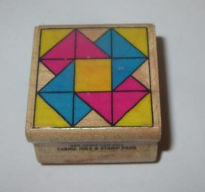 Card Trick Rubber Stamp Hampton Art Quilt Design RARE Retired Wood Mounted