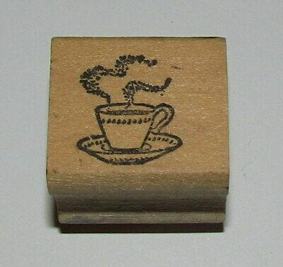"""Coffee Break Rubber Stamp Cup Saucer Steam Wood Mounted 1"""" Long"""