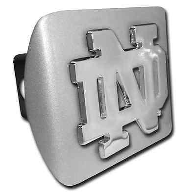 "Notre Dame (""ND"") ALL METAL Brushed Chrome Hitch Cover"
