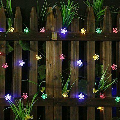 All Star 50 LED Solar-Powered Flower Bulbs Outdoor String Lights Multi Color