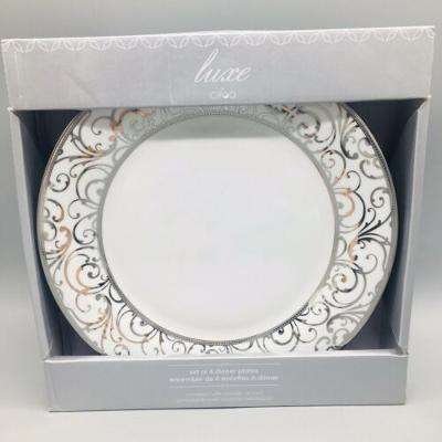 x4 CIROA Luxe Metallic Silver Velluto Scroll Dinner Plate Set Holiday Christmas