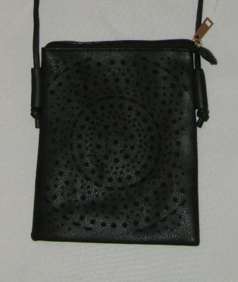 """Black Crossbody Bag Piper Lined Perforated New 51"""" Strap Purse"""