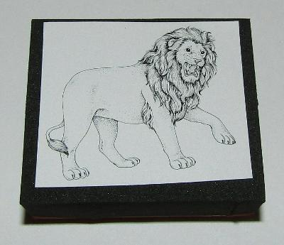 """Lion Rubber Stamp Foam Mounted New Stampede African Animals 1.5"""" High Roaring"""