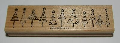 "Christmas Tree Rubber Stamp Border Stampin Up Retired Wood Mounted 4.5"" Long"
