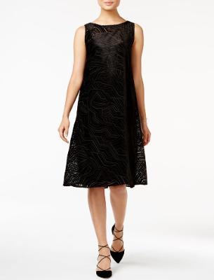 ALFANI Velvet Burnout A-Line Fit & Flare Sleeveless Dress Black Optic Dimension