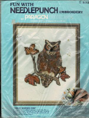 Paragon Needlework Punch Embroidery Kit Great Horned Owl 5112 Finished 8 x 10