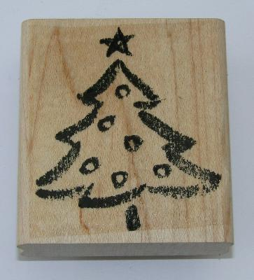 """Christmas Tree Rubber Stamp Stampin Up Star Ornaments Wood Mounted 2.5"""" High"""