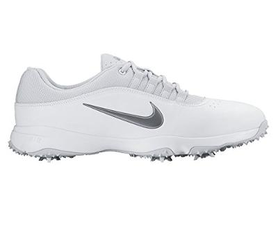NIKE Air Rival 4 Golf Shoes, White/Metallic Cool Gray, Size: 9.5 Wide