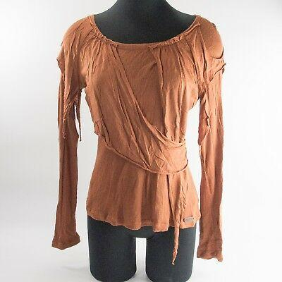 Phard Couture Copper Raw Edge Overlaid Viscose Wool Knit Top Lg