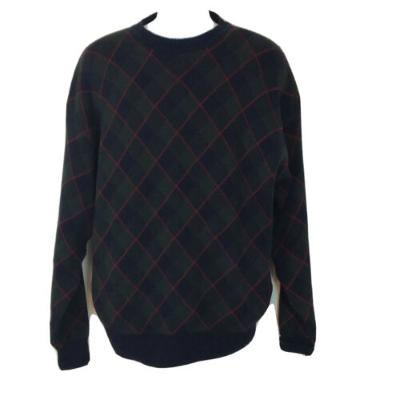 Woods and Gray Mens Size Medium Tartan Plaid Cotton Pullover Sweater
