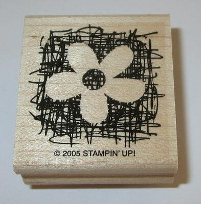 """Flower Rubber Stamp Made From Scratch Stampin Up Retired Wood Mounted 1 3/4"""" H"""