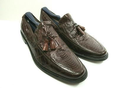 Stacy Adams Genuine Snake Brown Leather Tassel Loafers Size US 8 M