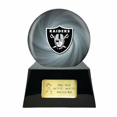Large/Adult 200 Cubic Inch Oakland Raiders Metal Ball on Cremation Urn Base