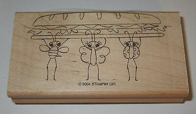 Picnic Ladybug Butterfly Bee Stampin' Up! Rubber Stamp New Sandwich Wood Mounted
