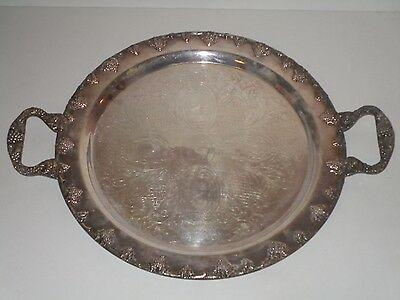 """Silver On Copper 14"""" Formal Serving Tray"""