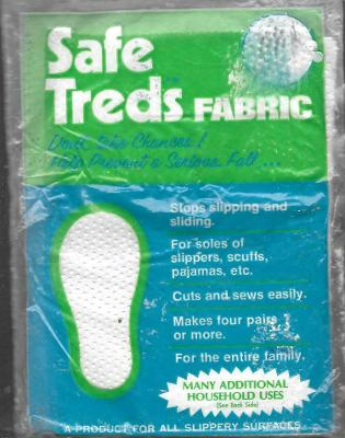 Vintage Safe Treds Sewing Fabric Soles Pajama Feet Slippers Rubber Dots Zisson