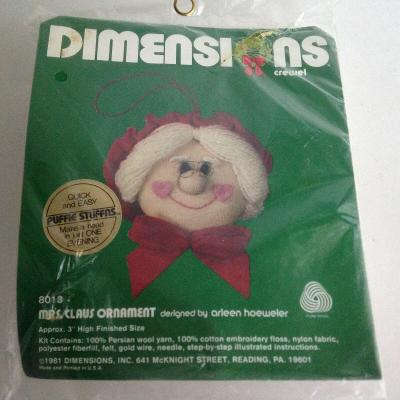1981 Dimensions Crewel Mrs. Claus Ornament Kit 8013 Christmas New & Sealed