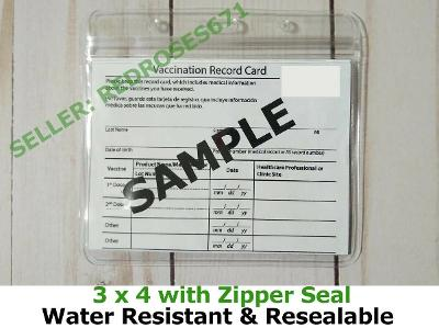 Resealable Zip Vaccine Record card holder CDC Free shipping USA Protective