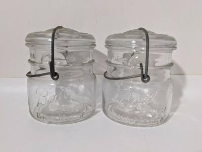 Lot 2 Vintage 1933 - 1962 Ball Eclipse Wide Mouth Clear Mason Pint Jar Canning
