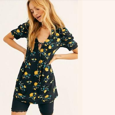 Free People NWT Black Adelle Floral Printed Mini Dress Tunic Top Blouse Small S