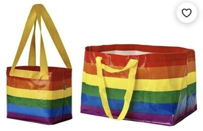 IKEA Rainbow Stripe Bag Set 2 Large Small Gay Pride Support Reseller Laundry