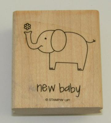 New Baby Rubber Stamp Elephant Stampin Up Wood Mounted 2.25 Inches High