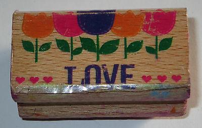 LOVE Rubber Stamp Flowers Tulips Hearts #2 Wood Mounted