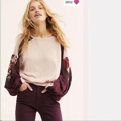Free People Casual Clash Thermal Top Rose Medium M NWT New