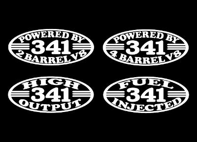 2 341 V8 ENGINE DECALS 2 4 BARREL HIGH OUTPUT FUEL INJECTED EARLY