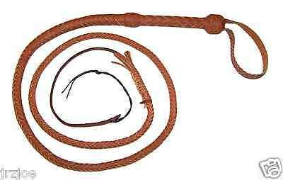 6 foot long 10 plait TAN Real Leather Bullwhip Indiana Jones Stuntman Bull Whip