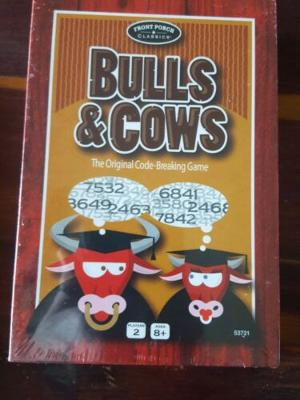 Bulls & Cows The Original Code-Breaking Game Ages 8+New Sealed Front Porch