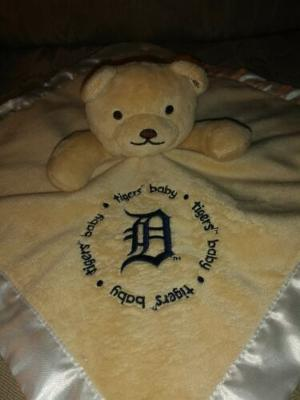 """Detroit Tigers Baby Lovey Plush 13""""x13"""" Infant Soother Security Blanket Toy Bear"""