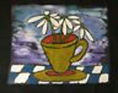 Acrylic Painting COFFEE CUP with DAISIES on BLACK CLOTH Hand Painted