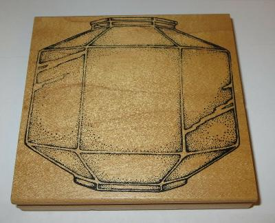 """Ceiling Light Cover Rubber Stamp Leaded Glass Shade Vintage Rare 4.5"""" Large"""