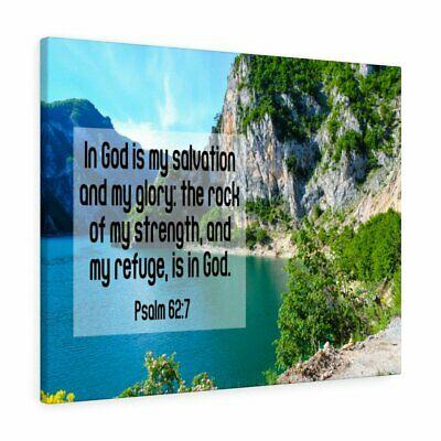 Scripture Canvas In God is My Salvation Psalm 62:7 Christian Wall Art Bible Vers