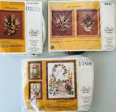 3 Embroidery Kits by Creative Circle Autumn Colors Floral Still Life Duck Decoy