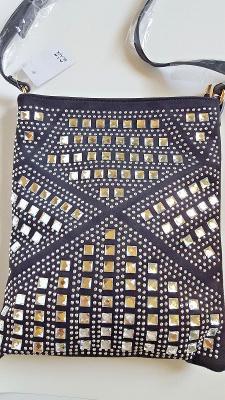 Bling Bling Cross Body Black Bag Crystal Purse Handbag Medium Messenger Shoulder