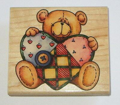 "Ted E Bear Rubber Stamp Teddy Quilted Heart 3.75"" Long Smiling Heart Button Wood"