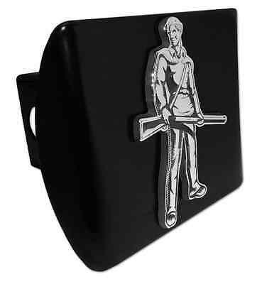 West Virginia Mountaineer ALL METAL Black Hitch Cover