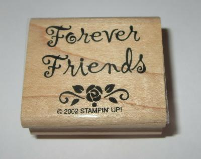 Forever Friends Rubber Stamp Rose Stampin Up Retired Wood Mounted