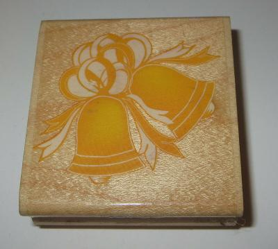 """Bells Rubber Stamp Wedding Christmas Bows Ribbon Wood Mounted 2.25"""" Square"""