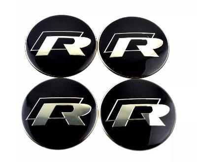 56mm Vw Golf R tin sticker Emblems x4 for Wheel caps