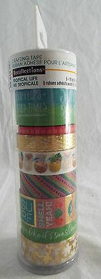 Recollections Tropical Life Washi Tape Tube 8 rolls 5-10yd 3-5yd Foil