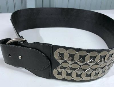 Coldwater Creek Black Wide Mirrored Large Fashion Belt