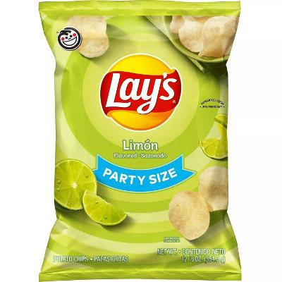 Lay's, Party Size, Limon Flavored, Potato Chips 12.5 Oz 1 Bag