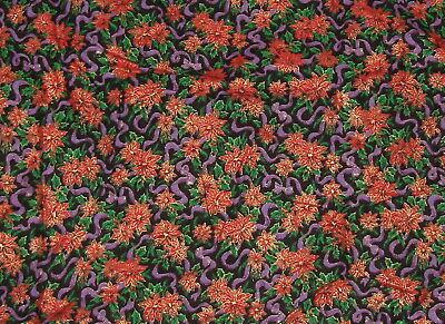 """Poinsettia Flowers Cotton Fabric Gold Accents Purple 1 Yard x 40"""" Christmas"""