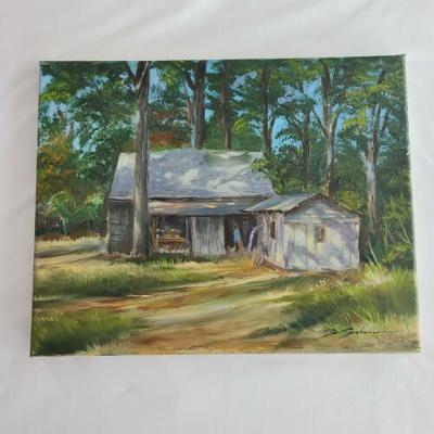 Original Canvas Painting Old Country Barn Shed House Woods Trees 14x11