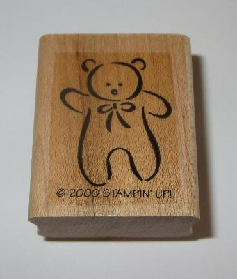 Teddy Bear Rubber Stamp Rare Stampin' Up! Retired Wood Mounted