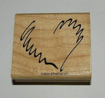 Scribble Heart Rubber Stamp Stampin Up Wood Mounted Retired Design