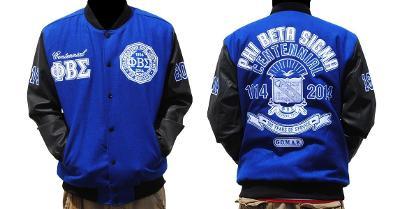 Phi Beta Sigma Fraternity Centennial Varsity Jacket Blue Black Wool Varsity